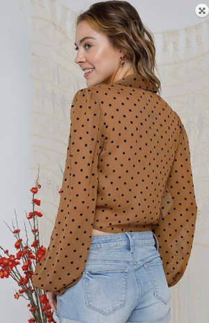 Mocha Polka Dot Button-Down Tie-Front Blouse