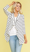 Ivory & Black Striped Cardigan