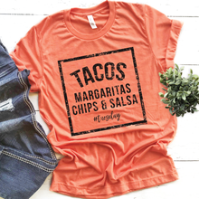 """TACOS, MARGARITAS, CHIPS & SALSA #Tuesday"" Heather Orange Graphic Tee"