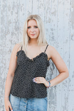 Black Polka Dot Ruffled Cami Top