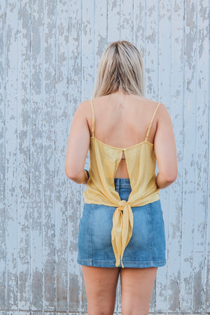 Yellow High Low Cami Top with Open Back Detail