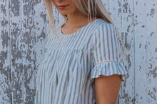 Ash Green Stripe Linen Top with Front Tie