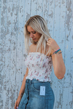 Soft White Floral Semi-Cropped Smocked Top