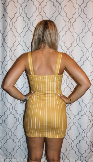 Mustard Stripe Casual Button-Down Motel Dress