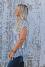 Navy Striped Blouse