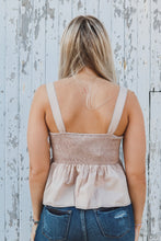 Taupe Smocking Back Peplum Tank Top