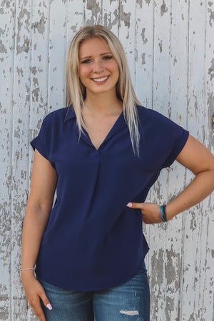 Navy Collared Button-Up Blouse