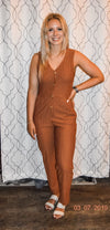Brown Stripe Jumpsuit with Buttons
