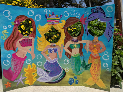 Hand painting photo board with cut-outs for photo-ops! - Yoga Munkee