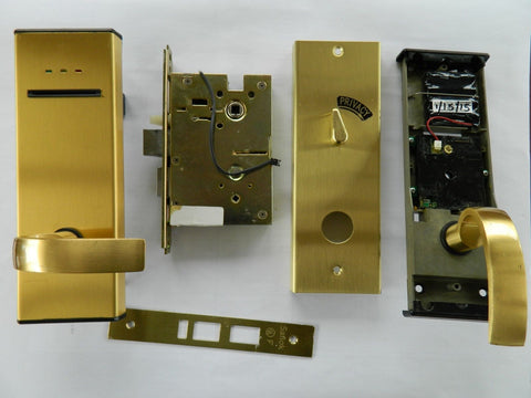 Saflok MT Electronic Door Lock Brass Finish - Front View