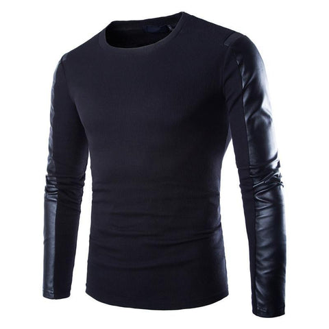 Black Sweatshirt Pullover with Leather Sleeve - HighStreetFashionStore