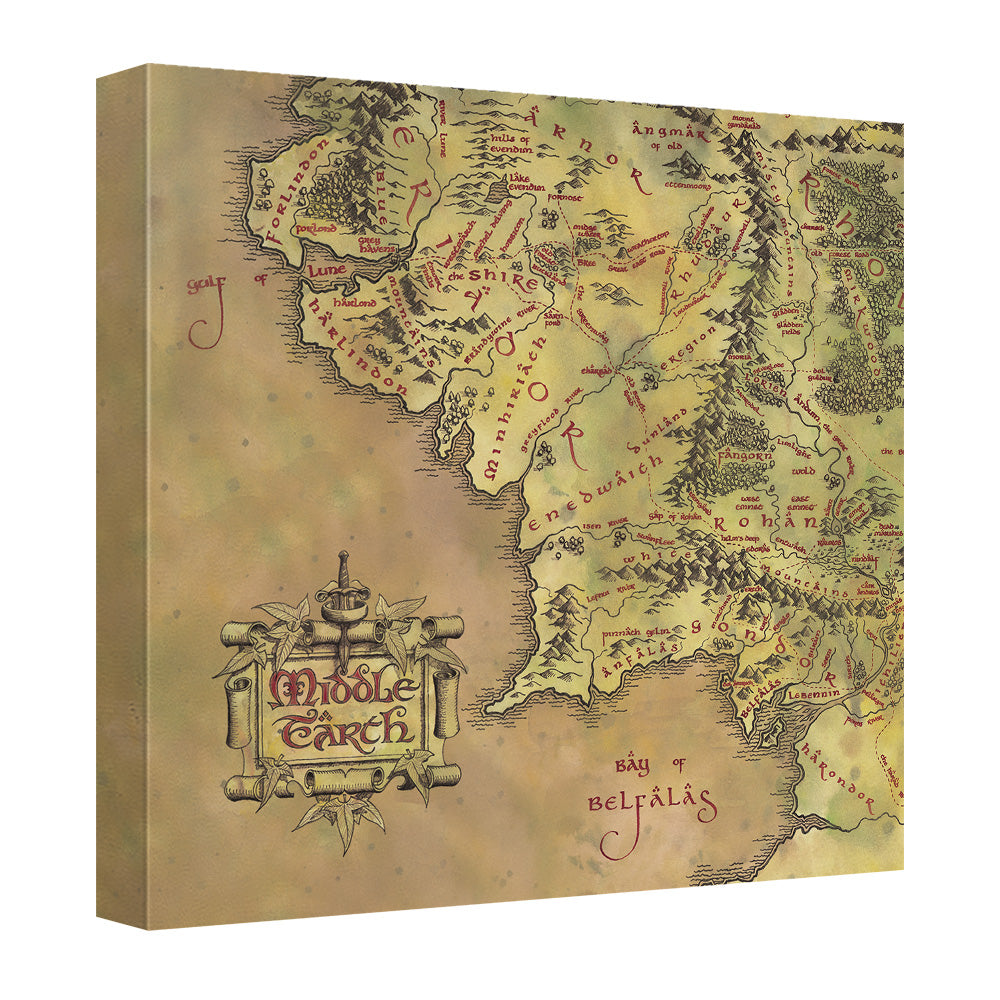 lord of the rings middle earth map canvas wall art with back board
