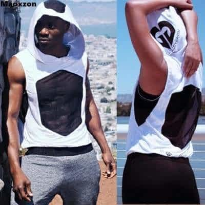 b6a0858ccd7082 Maoxzon Mens Mesh Hollow Out Loose Fitness Hooded Tank Tops Boys Casual  Jogger Muscle Workout Hoodies
