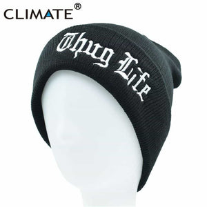 6bac8bc9899 CLIMATE Men Women Winter Warm Beanie Hat THUG LIFE Black Knit Skullies  Beanie Casual Cool Black
