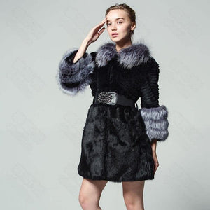 8de865ce94c48 New pattern Real Rabbit fur coat Fox feather collar Belted Fox cuff Large  size winter Russia