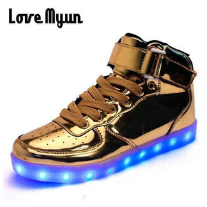 6a1b78fb5391 Mens lights up led luminous shoes high Top Shoes Gold Sliver luminous shoes  LED glow USB