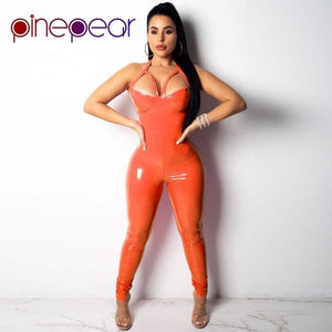 822478ef60fd Orange Pink PU Leather Jumpsuit Women 2019 Sexy Hollow Out Spaghetti Strap  Halter Backless Bodycon