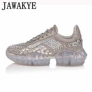 9ad5ed71564f Spring daddy casual shoes Woman bling bling crystal Trainers creeper  sneakers thick bottom platform rhinestone tenis