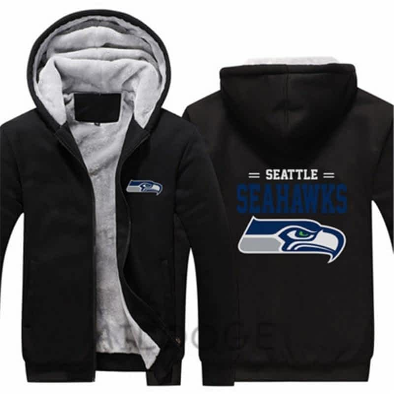 Unisex Men Winter Seattle Thicken Fleece Hoodie Seahawks Zipper Sweatshirt  Jacket Costume Tracksuit made bae2d7292e8c4