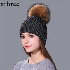 Xthree Fashion Female Winter Hat For Women And Girl Mink Fur Pom Poms  Knitted Hat Beanie 25864e81922b