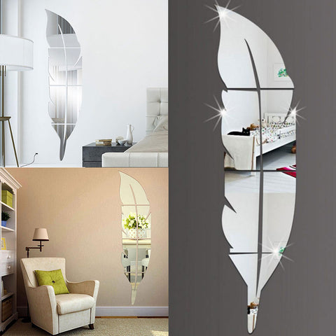 DIY Modern Feather Acrylic Mirror Wall Stickers Room Decal Decoration Silver Size: 72 x 15.3 x 0.1cm 2pcs  Double Side Sticker
