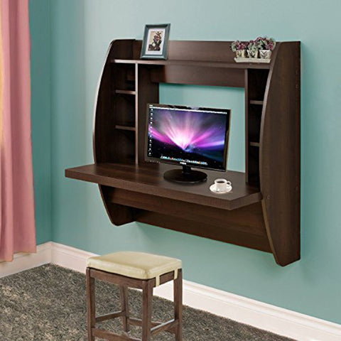 Homedex Wall Mounted Floating Desk with Storage (Brown)