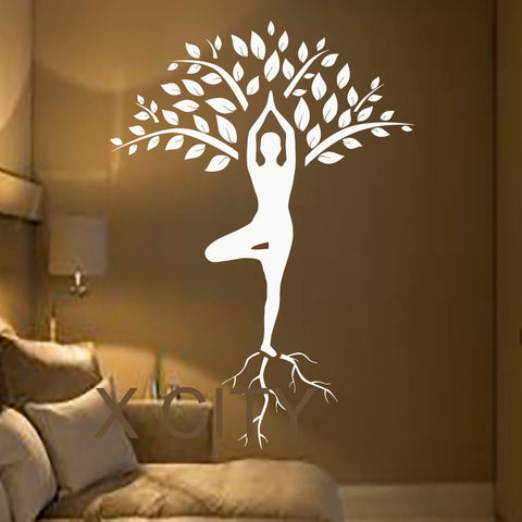 Tree Wall Decals Art Gymnast Decal Yoga Meditation Vinyl Stickers Gym Home Decor Interior Design Murals