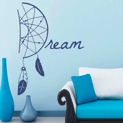 Home Decor Dreamcatcher Wall Sticker Dream Catcher Tribal Ethnic Feathers India Vinyl Sticker Yoga Studio Bedroom Murals M-81