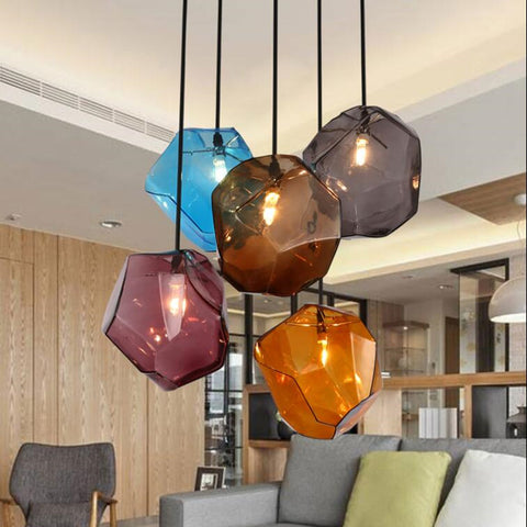 Simple lamp Stone glass pendant lights colorful indoor lighting The restaurant dining room bar shores G4 LED  light Fixture