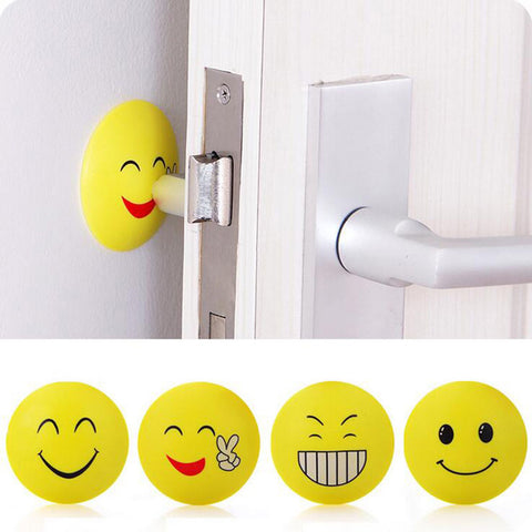 3D Wall Stickers Rubber Door Handle Knob Emoji Crash Pad Wall Protector Self Adhesive Bumper Stickers