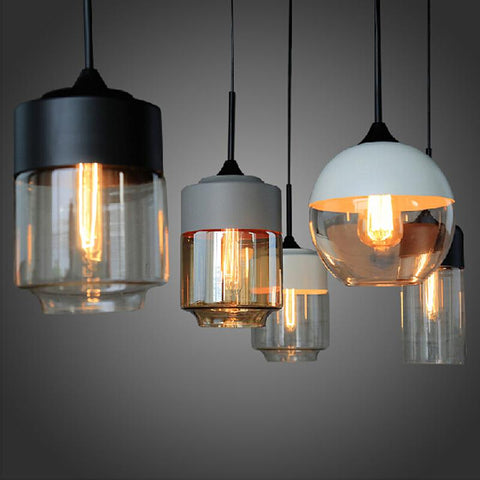 New American industrial loft vintage pendant lights black white iron edison glass retro loft vintage pendant lights lamp