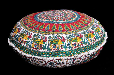 Large Floor Pillows Indian Mandala Round Cushion Covers Pouf Ottoman Tapestry,pillow case(pillow not included)