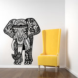 Three Elephant  Wall Decals India Mandala Buddha OM Vinyl Bedroom Wall Stickers Elaphant Mandala Symbol Mural CW-69