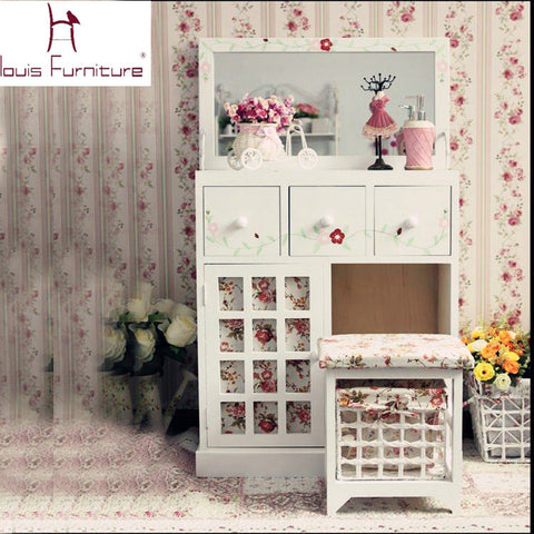 European countryside style bedroom furniture wooden girls dresser dressing table with mirror vanity set