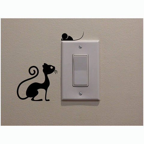 Cat And Mouse Switch Stickers Vinyl Living Room Kitchen Wall Stickers 2SS0064