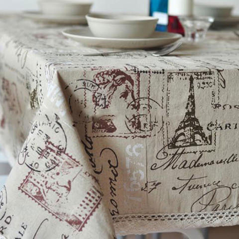 GIANTEX Tower Print Decorative Table Cloth Cotton Linen Lace Tablecloth Dining Table Cover For Kitchen Home Decor U0996