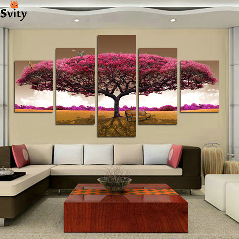 HOT 5 panel Printed tree art scenery landscape modular picture large canvas painting for bedroom living room home wall art decor