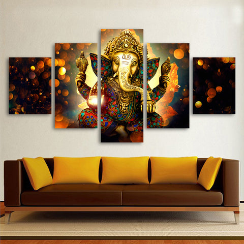 HDARTISAN Canvas Painting Wall Art Home Decor For Living Room HD Prints 5 Pieces Elephant God Ganesha Poster Picture