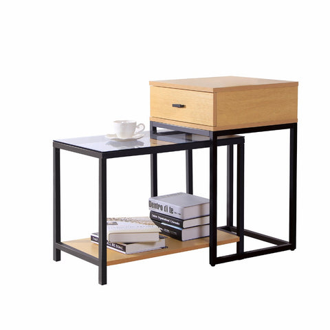 Lifewit 2-piece Nesting Side Accent Table Set with Drawer, Combination Extension Slide End Sofa Table
