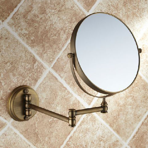 "Bath Mirrors 3 x Magnifying Mirror of Bathroom Makeup Mirror Folding Shave 8"" Dual Side Antique Brass Wall Round Mirrors 1506F"