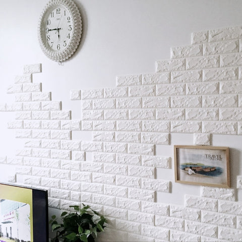 3D Wall Stickers Home Decor Wallpaper DIY Wall Brick Living Room Kids Bedroom Decorative Sticker 10PCS 70*30CM PE Foam