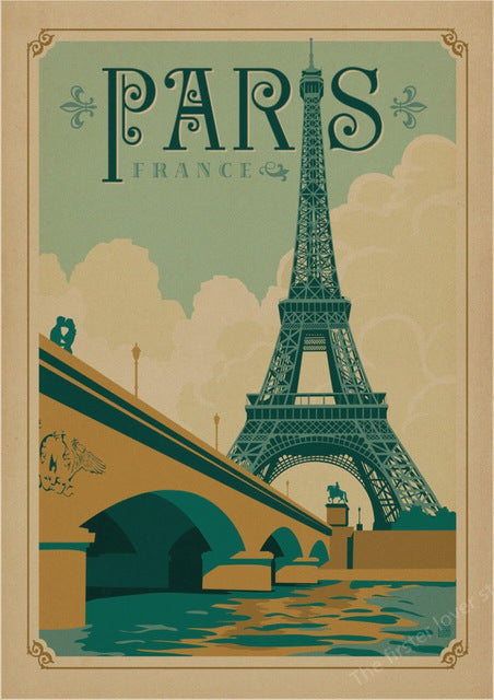 Vintage Travel Paris London Poster Retro Kraft Travel Poster
