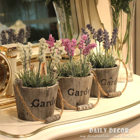 Village garden style shabby lavenders flowers pot plants old solid wooden casks artificial silk flower and hemp rope buckets