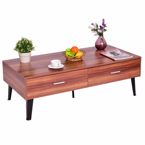 Goplus Coffee Table Wood Storage Drawers with Steel Legs Living Room Furniture Modern Simple Desk Home Coffee Tea Table HW55397