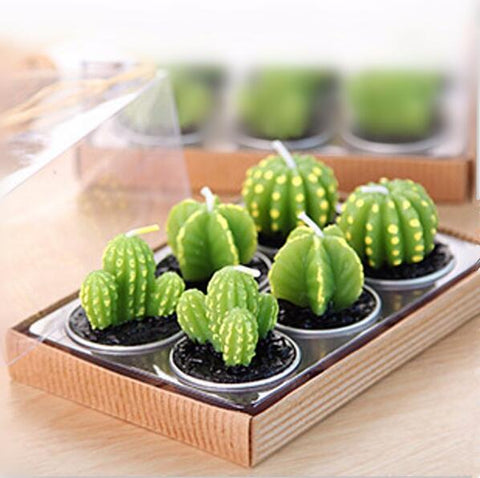 New 6PCS/Set Home Decor Rare Mini Cactus Candle Table Tea Light Home Garden Simulation Plant Candle Decorative Wedding Candles