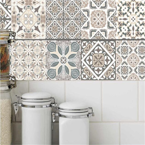 IDFIAF  Mosaic Tile Floor Stickers Ceramic Tile Wall Sticker Kitchen Bathroom Wall Decal for Home Decoration Floor Stickers