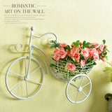 1 Set Creative Rose Plant Bike Shape Wall Hanging Basket Artificial Flowers Home Wedding Shop Decorative Fake Flower 6 Color