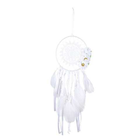 Handmade Dreamcatcher Boho Feather Lace Tassel Flower Hanging Ornament Pendant Gift for Home Car Decoration