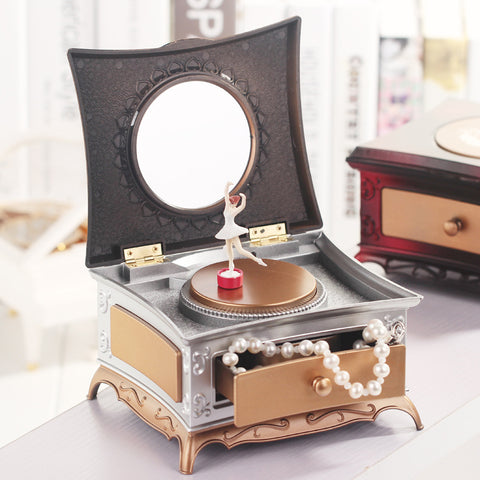 Dancing Ballerina Music Box Jewelry Storage Box Mechanical Musical Box Girls Carousel Hand Crank Music Box Mechanism For Gift