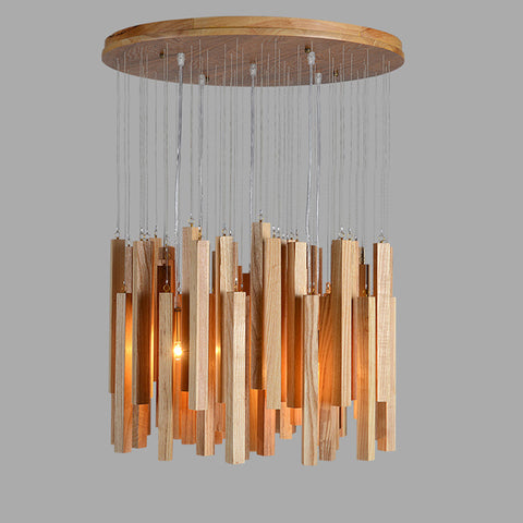Solid wood modern pendant light Chinese Nordic creative minimalist living room dining wood ball wooden pendant lamp